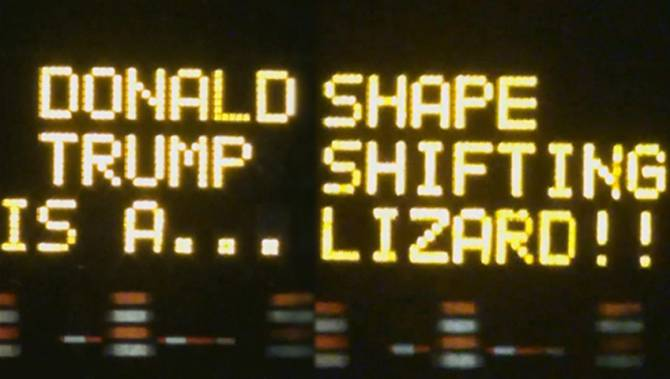 Texas Construction Signs Hacked to Endorse Bernie, Call Trump a Shape Shifting Lizard
