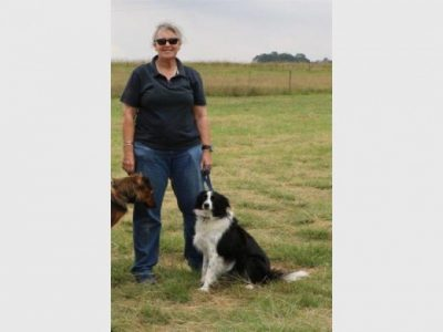 Sue Howarth with a sheepdog.
